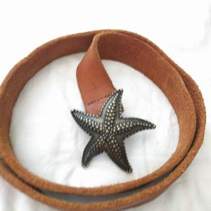 Anthropologie Leather Belt with Brass Starfish